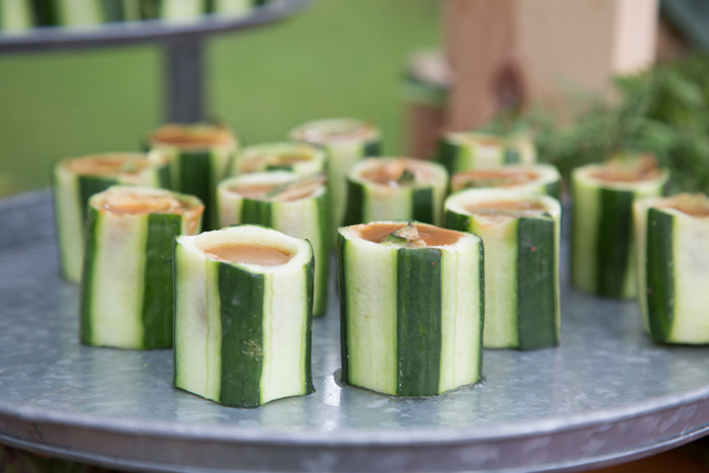 Cucumber cups of gazpacho