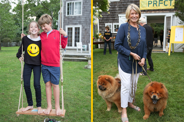 Martha Stewart and kids on swing