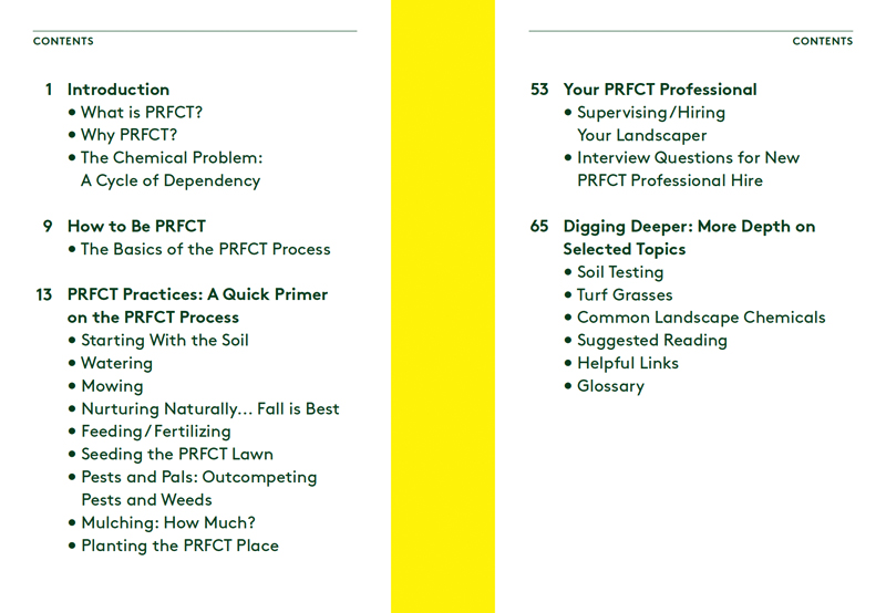 The PRFCT Yard Handbook table of contents